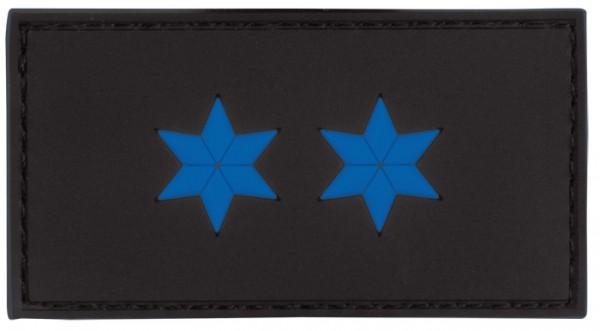 Rubber Patch POLIZEI Dienstgradabzeichen Polizeimeister (PM, 2 blaue Sterne))