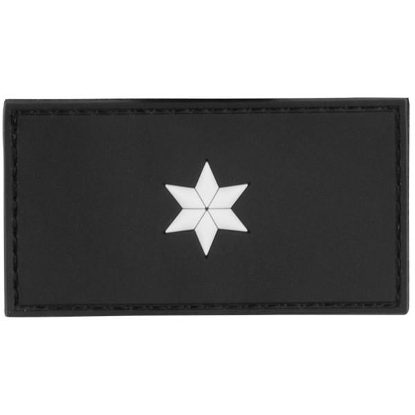 MRBS Rubber Patch POLIZEI Dienstgradabzeichen Polizeikomissar (PK, 1 weißer Stern) - 7,5 x 4 cm