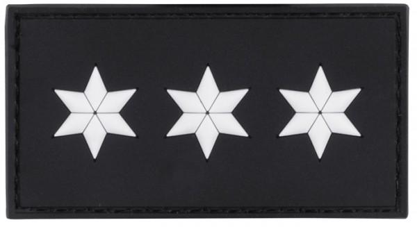 MRBS Rubber Patch POLIZEI Dienstgradabzeichen Polizeihauptkomissar (PHK, 3 weiße Sterne) - 7,5 x 4 c