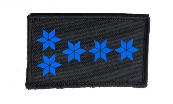 HCIM Patch Polizei Dienstgradabzeichen Polizeihauptmeister (PHM, 5 blaue Sterne) - 7,5 x 4,5 cm