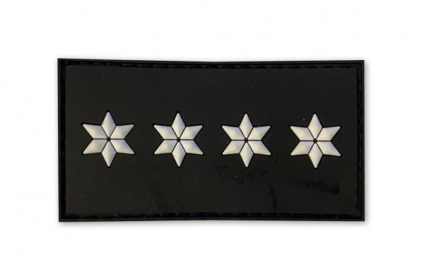 MRBS Rubber Patch POLIZEI Dienstgradabzeichen Polizeihauptkomissar (PHK, 4 weiße Sterne) - 7,5 x 4 c