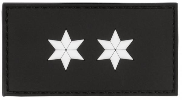 Rubber Patch POLIZEI Dienstgradabzeichen Polizeioberkomissar (POK, 2 weiße Sterne) - 7,5 x 4 cm