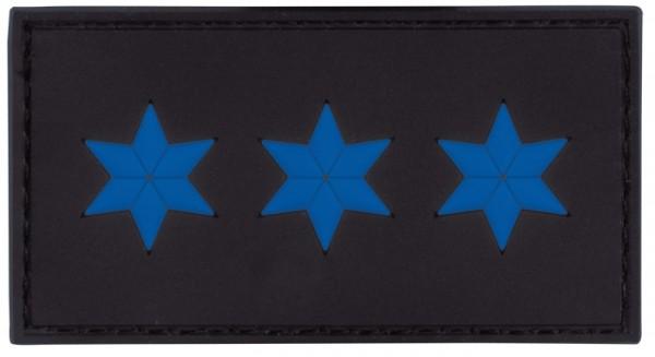 MRBS Rubber Patch POLIZEI Dienstgradabzeichen Polizeiobermeister (POM, 3 blaue Sterne) - 7,5 x 4 cm