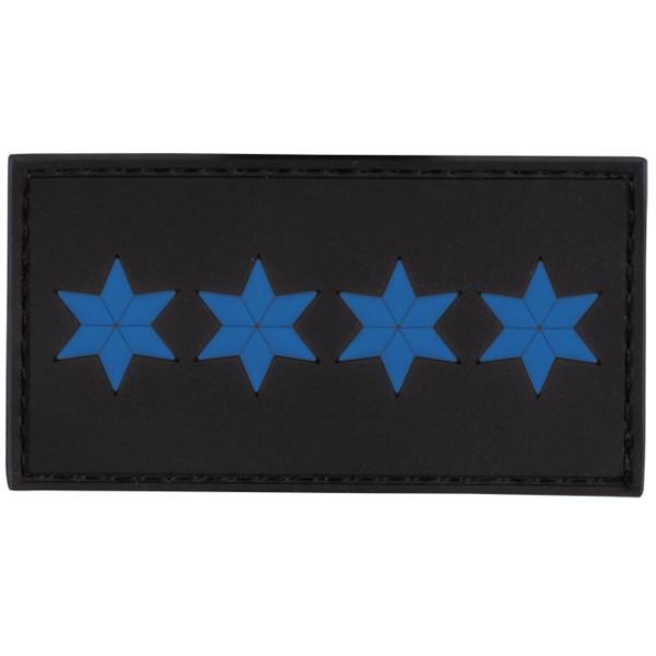 MRBS Rubber Patch POLIZEI Dienstgradabzeichen Polizeihauptmeister (PHM, 4 blaue Sterne) - 7,5 x 4 cm